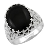 Sterling Silver Australian Black Jade Floral Ring