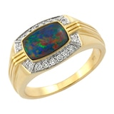 10K Yellow Gold Australian Triplet Opal with Diamond Ring