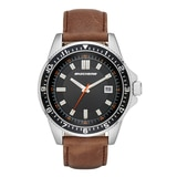 Skechers Men's Brown/Silver Casual Leather Strap Watch