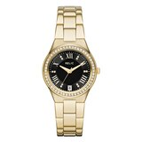 Relic Libby Black Dial & Crystal Accent Ladies' Watch Gold Tone