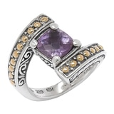 Samuel B. Sterling Silver 18K Yellow Gold Accent Bypass Amethyst Ring