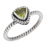 Samuel B. Sterling Silver Trillion Shape Peridot Ring