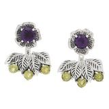 Samuel B. Sterling Silver Amethyst & Peridot Ear Jackets Earrings