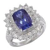 18K White Gold Tanzanite & Diamond Ring