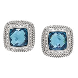 Es Blue Crystal Stud Earrings