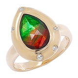 Ammolite Gems Sterling Silver Faceted Teardrop Ammolite & Topaz Ring