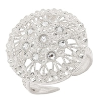 Sterling Silver Crystal Filigree Adjustable Ring