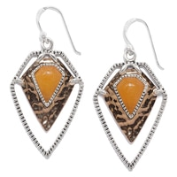 Barse Studio Sterling Silver Shielded Orange Quartz Geometric Earrings