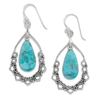 Barse Studio Sterling Silver Afghan Turquoise Drop Earrings