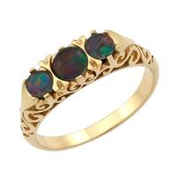 Gems of Australia 14K Yellow Gold 3 Stone Gemstone Ring