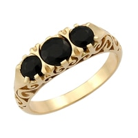 Gems of Australia 14K Yellow Gold 3 Stone Gemstone Ring