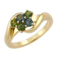 14K Yellow Gold 5 Stone Australian Party Sapphire Ring