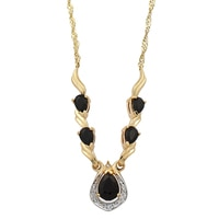 14K Yellow Gold Australian Black Saphire & Diamond Necklace