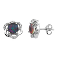 Sterling Silver Australian Triplet Opal with Diamond Earrings