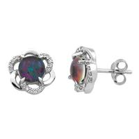 Boutons d'oreille sertis de triplets d'opale australiens et pavée de diamants, sur argent sterling