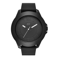 Skechers Men's Silicone Large Tonal Watch - Black