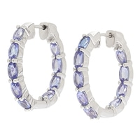 Rarities with Carol Brodie Sterling Silver Tanzanite Inside-Out Hoop Earrings