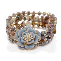 Ali Khan Vintage Rose Mixed Media Bracelet