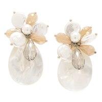Ali-Khan Pearls on Shells Post Earrings