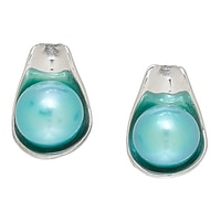 Hagit Jewellery Sterling Silver Cultured Button Freshwater Pearl Stud Earrings