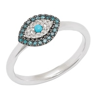 Rarities with Carol Brodie Sterling Silver Turquoise & Diamond Evil Eye Ring