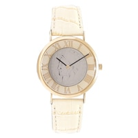 14K Yellow Gold Lira Coin Leather Strap Watch