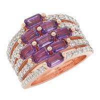 Sterling Silver 5x3mm Gemstone & White Topaz Fall in Love Ring