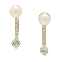 Sigal Style Sterling Silver Pearl & Gemstone Double Drop Earrings