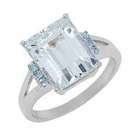 Sigal Style Sterling Silver Aquamarine & Swiss Blue Topaz Ring