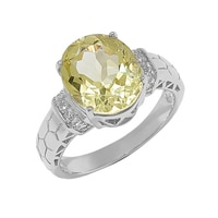 Sigal Style Sterling Silver Lemon Quartz & White Topaz Ring