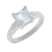 Sigal Style Sterling Silver Aquamarine Ring