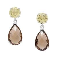 Pendants d'oreille de Sigal Style en argent sterling ornés de quartz fumés et de quartz citron