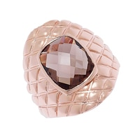 Sigal Style Sterling Silver Rose Gold Plate Smoky Quartz Ring