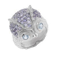 Sigal Style Sterling Silver Blue Topaz & Iolite Owl Ring