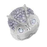 Bague de Sigal Style en forme de hibou ornée de topazes bleues et d'iolites, sur argent sterling