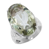 Sigal Style Gems Sterling Silver Green Amethyst & Multi Gemstone Ring