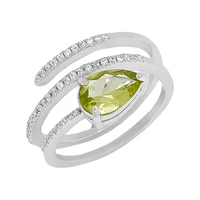 Sigal Style Sterling Silver Rhodium Plate Peridot & Cubic Zirconia Snake Ring