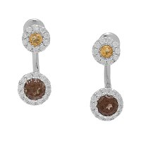 Sigal Style Sterling Silver Gemstone Double Drop Earrings