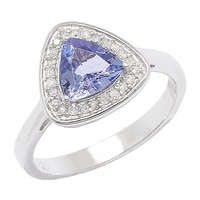 Sterling Silver White Diamond & Tanzanite Ring