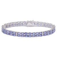 Sterling Silver Rhodium Plate Tanzanite & Diamond Bracelet