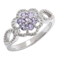 Sterling Silver Tanzanite Floral Ring