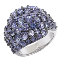 Sterling Silver Tanzanite Cluster Design Ring