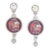 Amrita Sen BollyDoll Maithili Elephant & Parakeet Hand Art Earrings