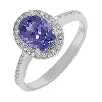 Bague sertie de diamants et tanzanites, pavée de diamants, sur or blanc 10 ct