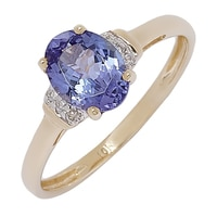 10K Yellow Gold Tanzanite & Diamond Ring