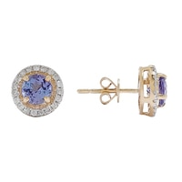 Boucles d'oreille en or jaune (14 ct) ornées de tanzanites et à bordure de diamants
