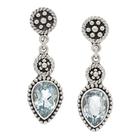 Samuel B. Collection Sterling Silver Pear Shape Gemstone Drop Earrings