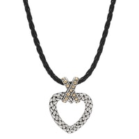 Samuel B. Sterling Silver 18K Yellow Gold Accent Heart Pendant On Leather Cord