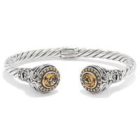 Samuel B. Collection Sterling Silver Citrine Twisted Cable Bangle