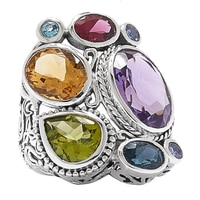 Samuel B. Sterling Silver Multi Shape Gemstone Ring